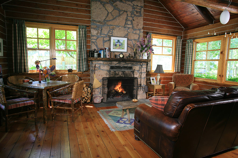 Ketchum Log Cabin Living Room.